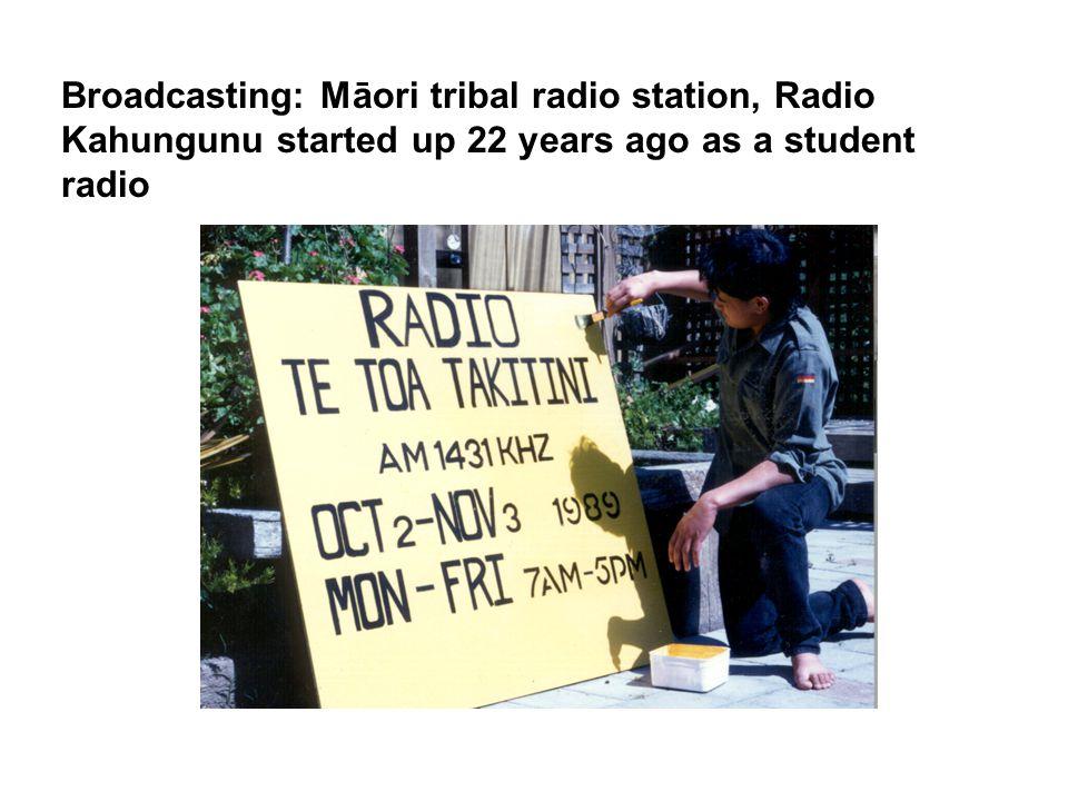 Broadcasting: Māori tribal radio station, Radio Kahungunu started up 22 years ago as a student radio