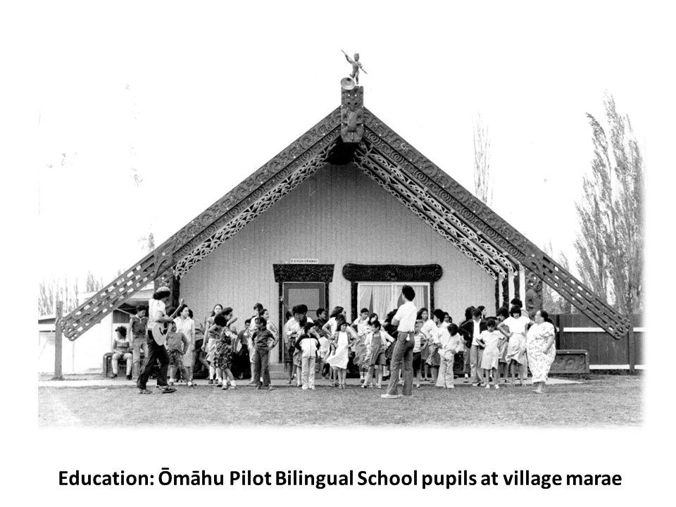 Education: Ōmāhu Pilot Bilingual School pupils at village marae