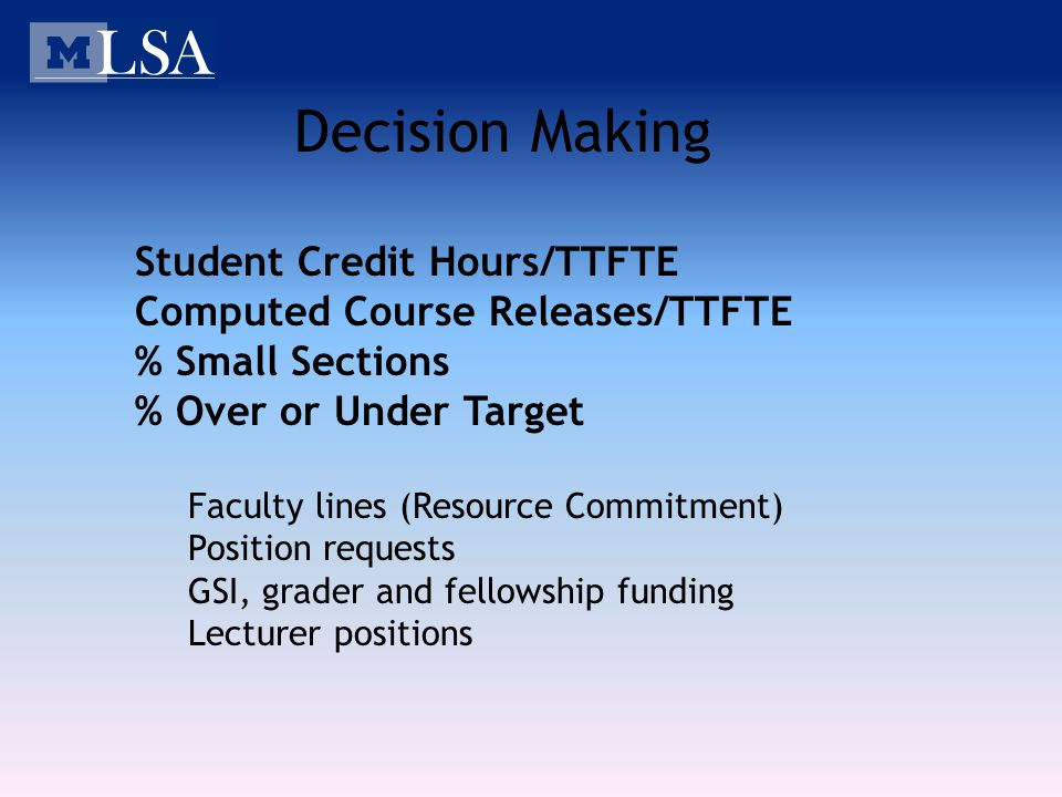 Decision Making Student Credit Hours/TTFTE Computed Course Releases/TTFTE % Small Sections % Over or Under Target Faculty lines (Resource Commitment)