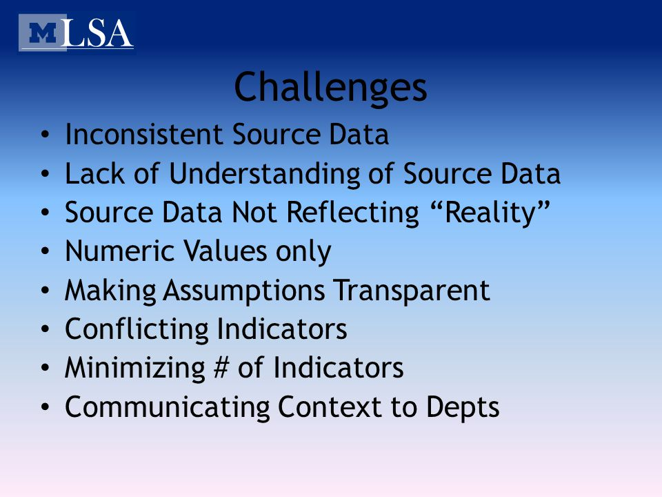 Challenges Inconsistent Source Data Lack of Understanding of Source Data Source Data Not Reflecting Reality Numeric Values only Making Assumptions Transparent Conflicting Indicators Minimizing # of Indicators Communicating Context to Depts