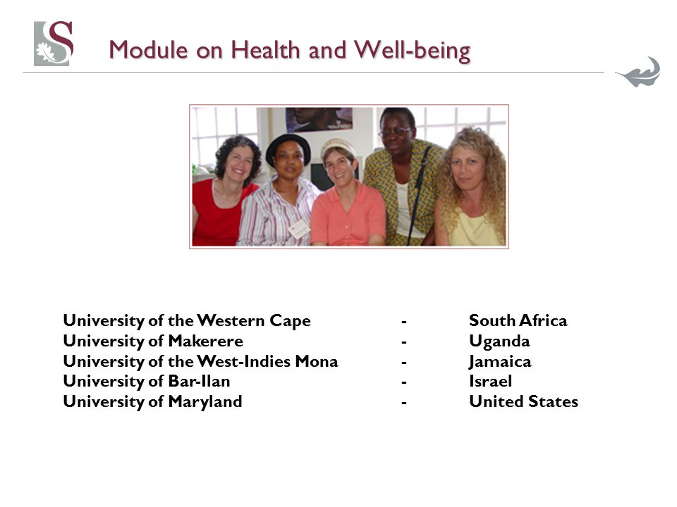 Module on Health and Well-being University of the Western Cape -South Africa University of Makerere-Uganda University of the West-Indies Mona- Jamaica University of Bar-Ilan-Israel University of Maryland-United States