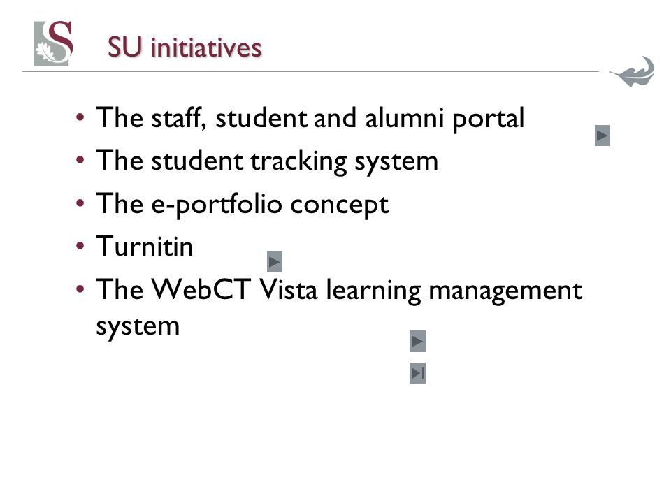 SU initiatives The staff, student and alumni portal The student tracking system The e-portfolio concept Turnitin The WebCT Vista learning management system