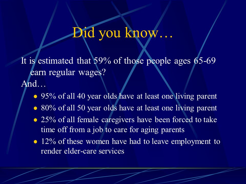 Did you know… It is estimated that 59% of those people ages 65-69 earn regular wages.