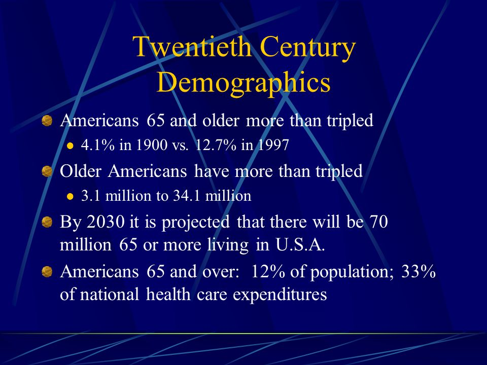Twentieth Century Demographics Americans 65 and older more than tripled 4.1% in 1900 vs.
