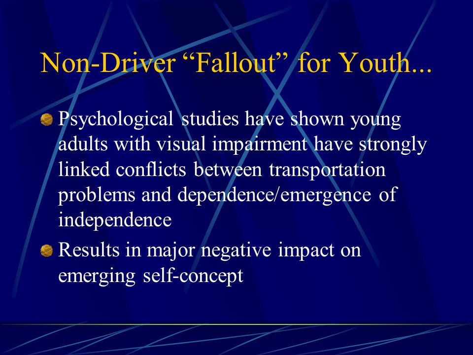 Non-Driver Fallout for Youth...