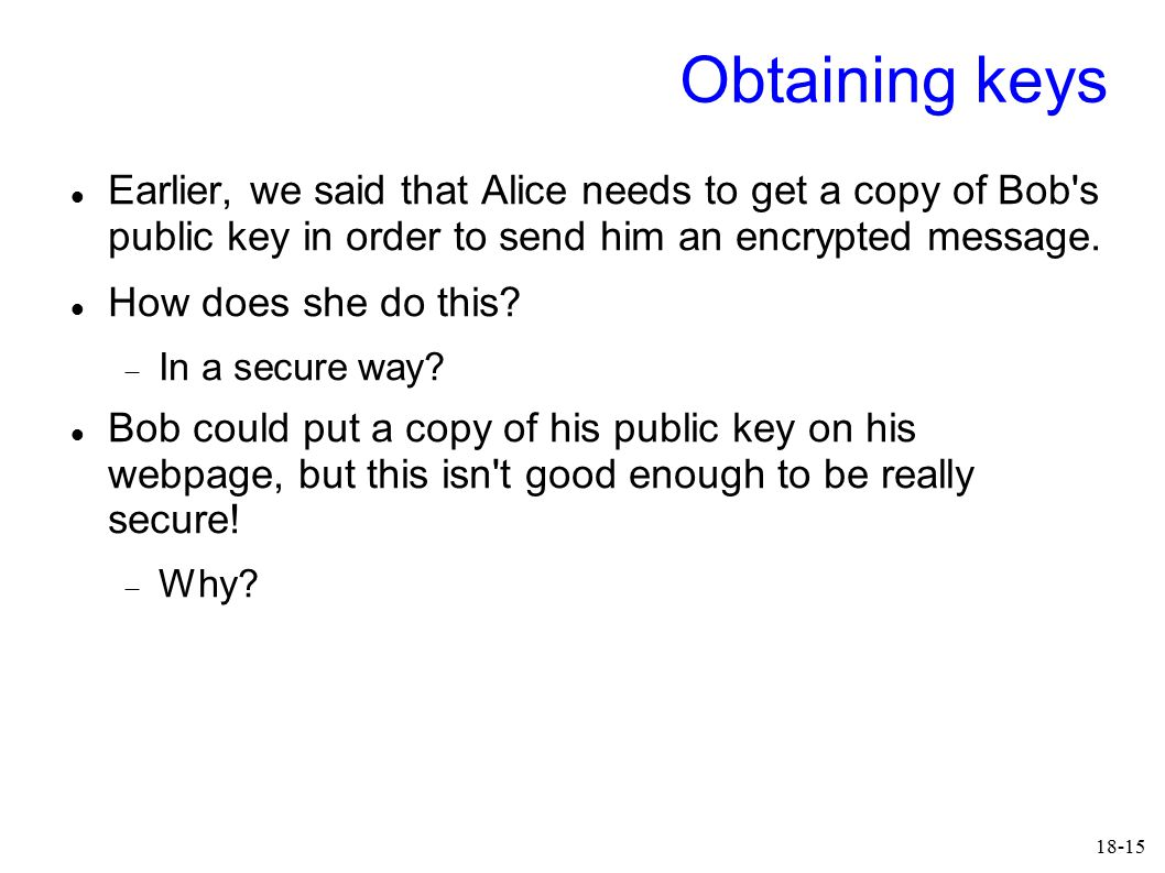 18-15 Obtaining keys Earlier, we said that Alice needs to get a copy of Bob's public key in order to send him an encrypted message. How does she do th