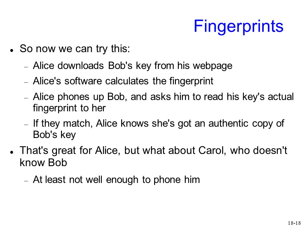 18-18 Fingerprints So now we can try this:  Alice downloads Bob's key from his webpage  Alice's software calculates the fingerprint  Alice phones u