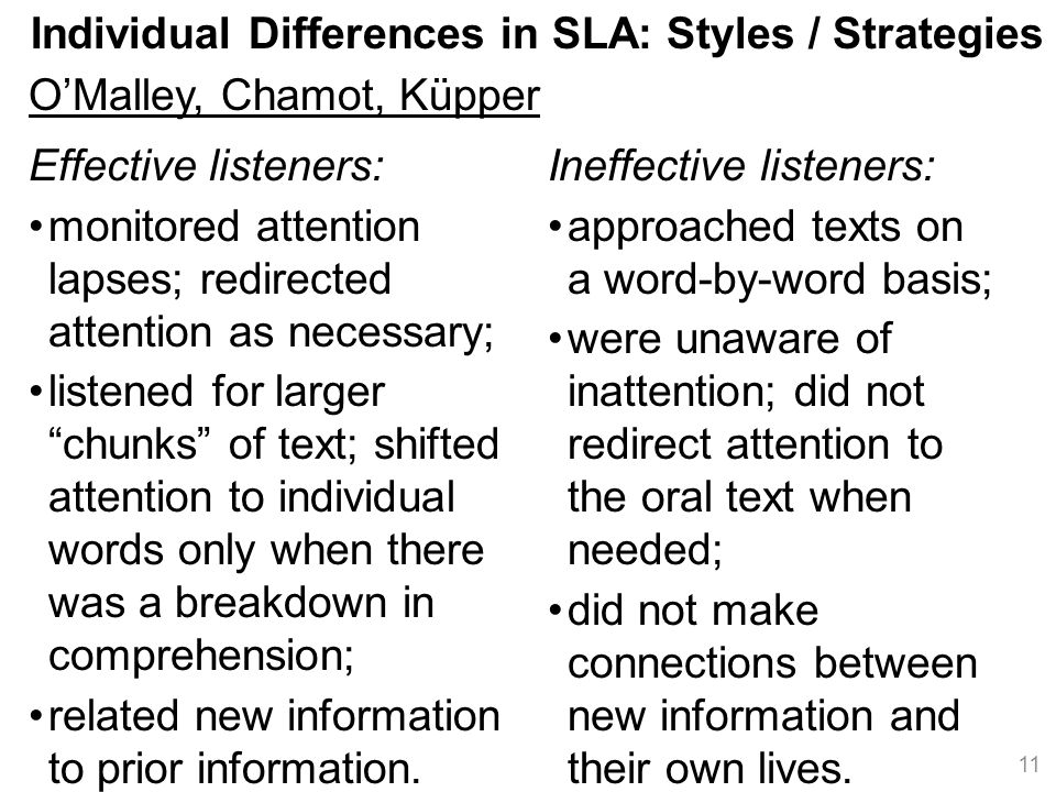 Individual Differences in SLA: Styles / Strategies O'Malley, Chamot, Küpper 11 Ineffective listeners: approached texts on a word-by-word basis; were unaware of inattention; did not redirect attention to the oral text when needed; did not make connections between new information and their own lives.