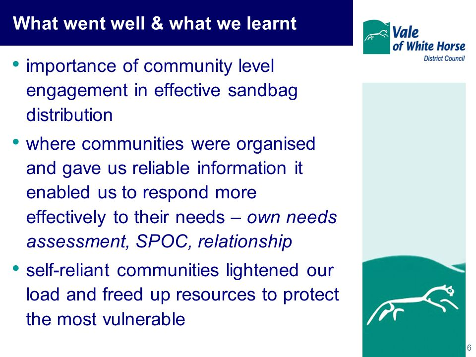 6 What went well & what we learnt importance of community level engagement in effective sandbag distribution where communities were organised and gave