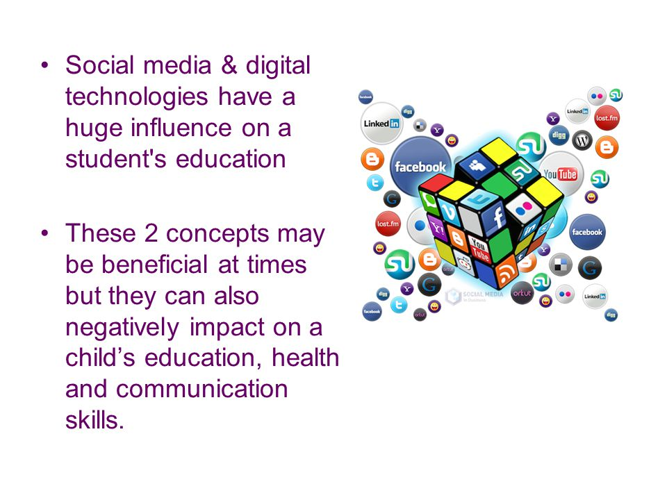 Social media & digital technologies have a huge influence on a student's education These 2 concepts may be beneficial at times but they can also negat