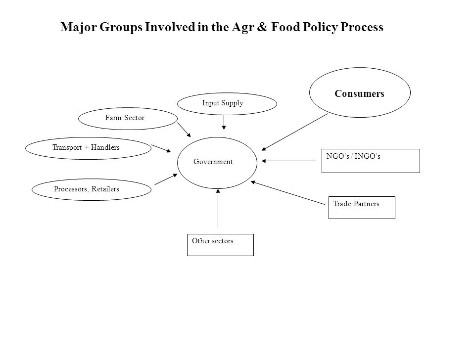 Farm Sector Input Supply Transport + Handlers Processors, Retailers Trade Partners Other sectors Government Consumers NGO ' s / INGO ' s Major Groups Involved in the Agr & Food Policy Process