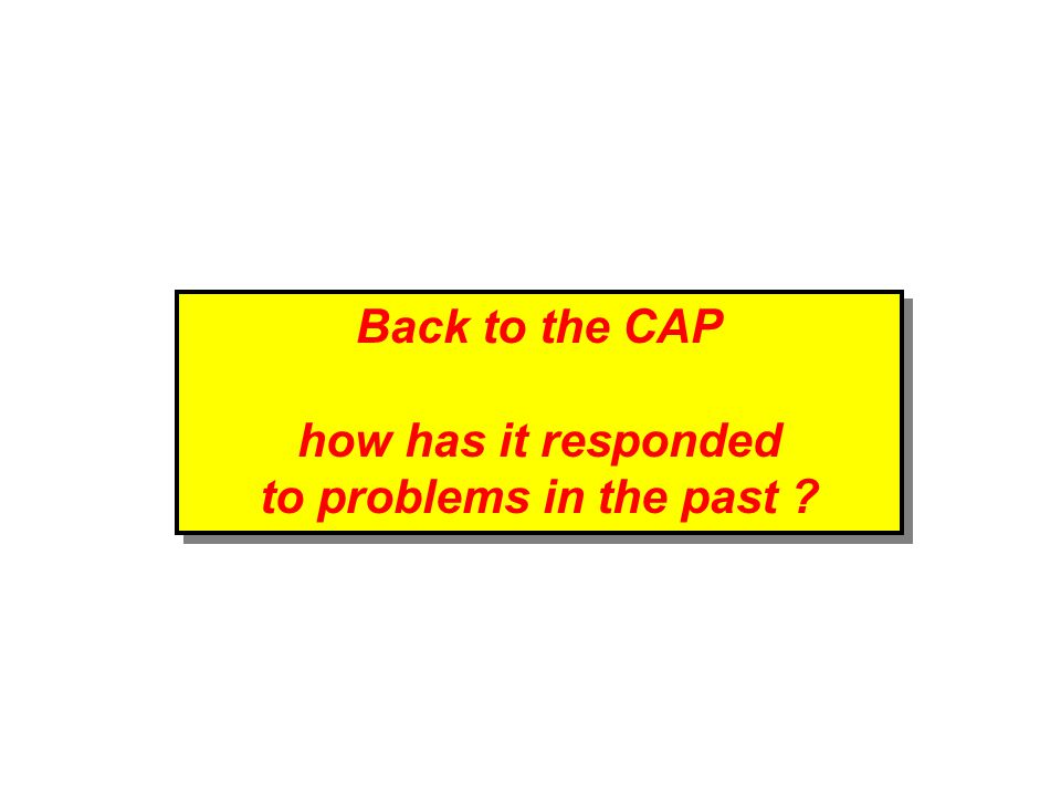 Back to the CAP how has it responded to problems in the past .