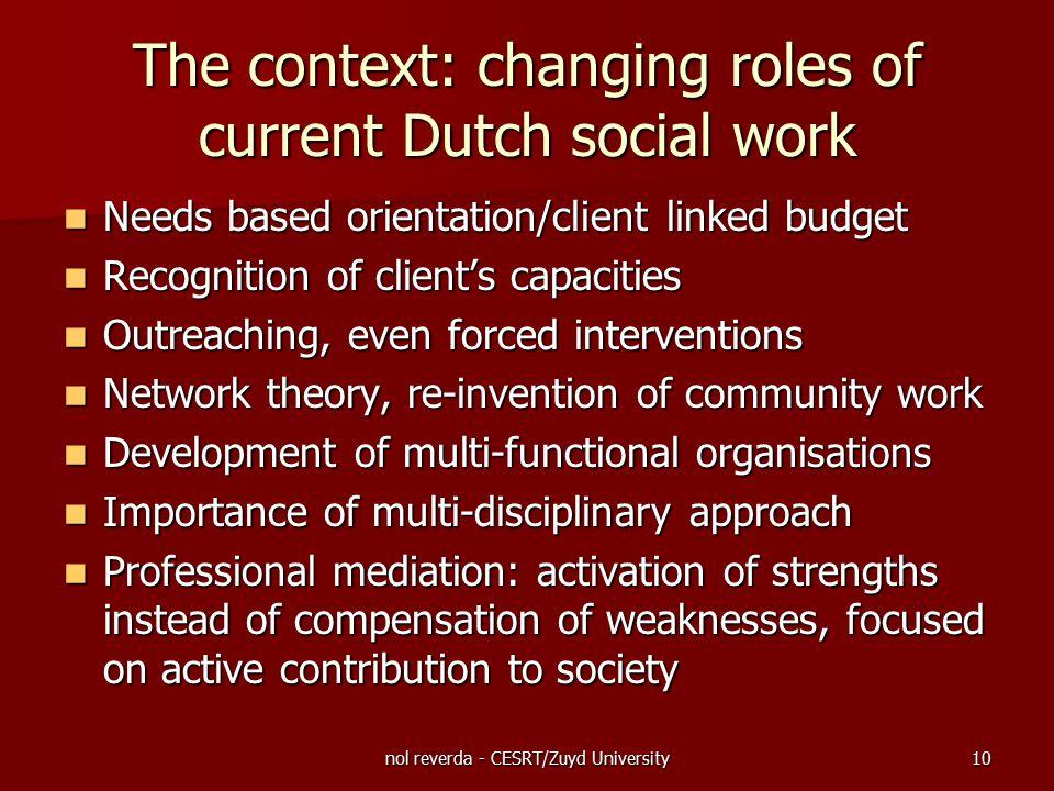 nol reverda - CESRT/Zuyd University10 The context: changing roles of current Dutch social work Needs based orientation/client linked budget Needs base