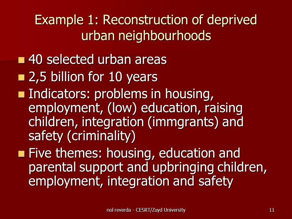 nol reverda - CESRT/Zuyd University11 Example 1: Reconstruction of deprived urban neighbourhoods 40 selected urban areas 40 selected urban areas 2,5 b