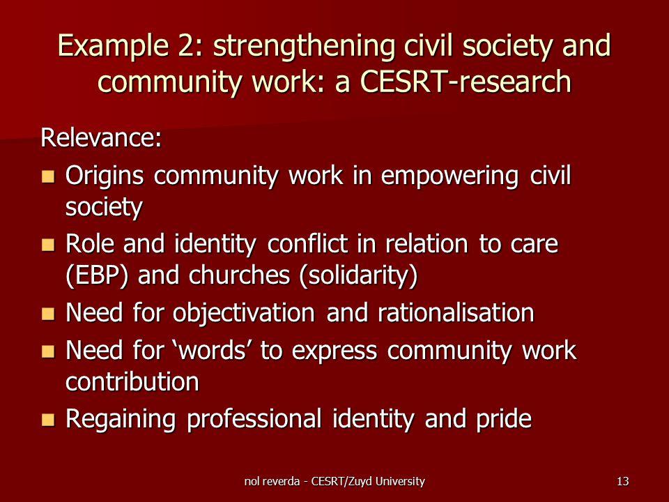 nol reverda - CESRT/Zuyd University13 Relevance: Origins community work in empowering civil society Origins community work in empowering civil society