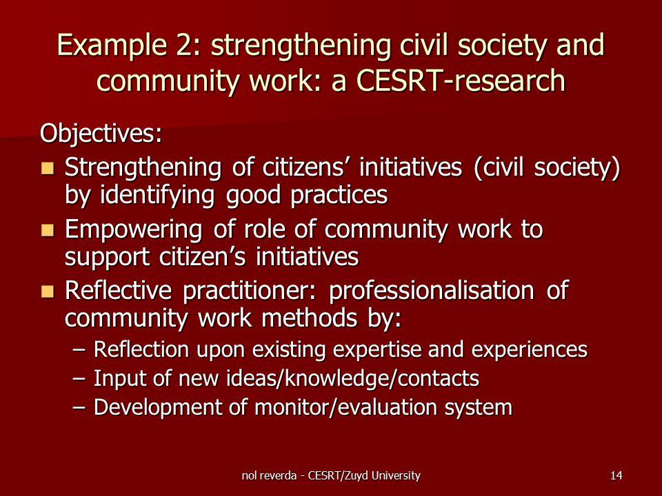 nol reverda - CESRT/Zuyd University14 Example 2: strengthening civil society and community work: a CESRT-research Objectives: Strengthening of citizen