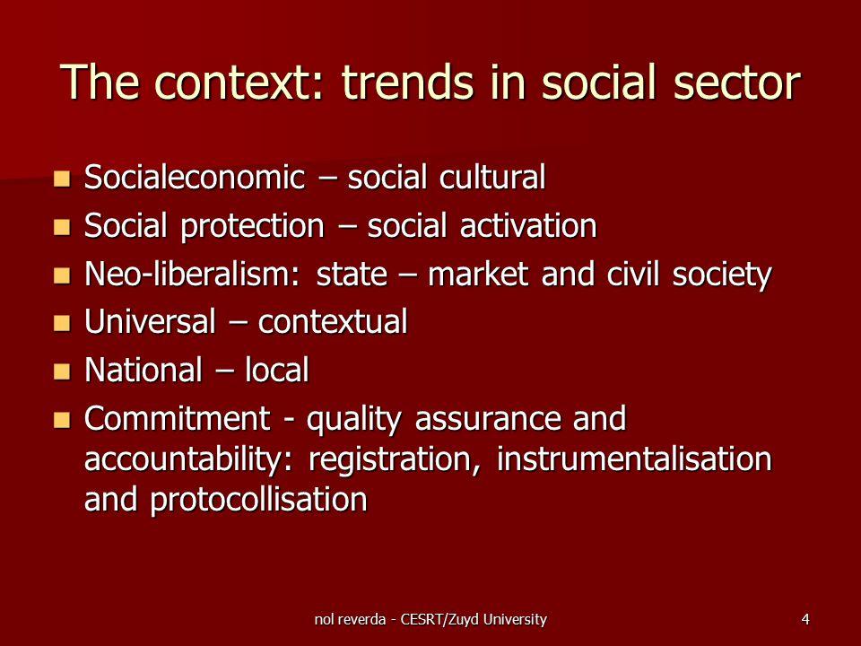 nol reverda - CESRT/Zuyd University4 The context: trends in social sector Socialeconomic – social cultural Socialeconomic – social cultural Social pro