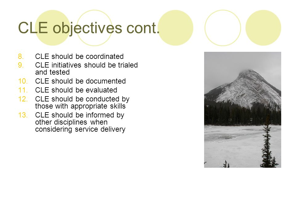 CLE objectives cont.
