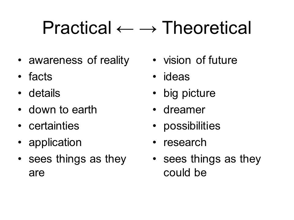 Practical ← → Theoretical awareness of reality facts details down to earth certainties application sees things as they are vision of future ideas big picture dreamer possibilities research sees things as they could be
