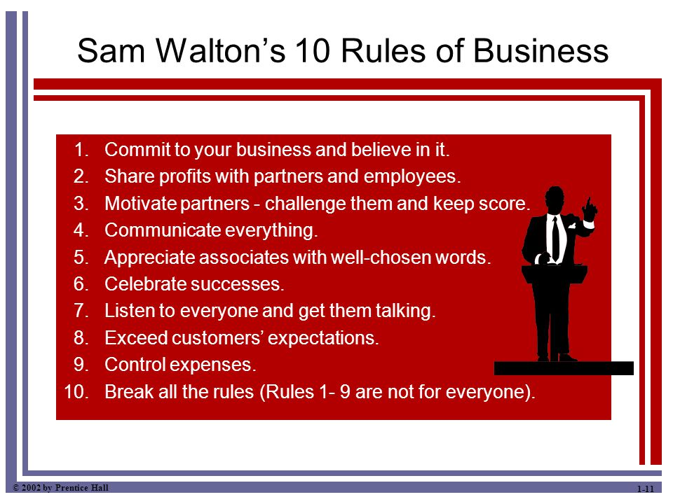 © 2002 by Prentice Hall 1-11 Sam Walton's 10 Rules of Business 1. Commit to your business and believe in it. 2. Share profits with partners and employ