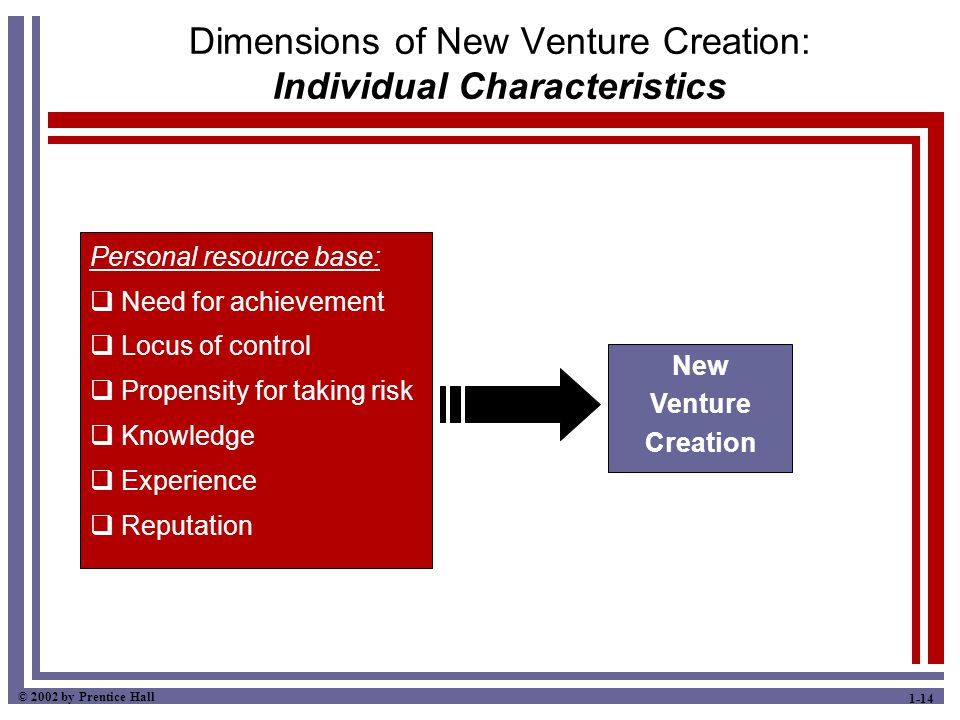 © 2002 by Prentice Hall 1-14 Dimensions of New Venture Creation: Individual Characteristics Personal resource base:  Need for achievement  Locus of control  Propensity for taking risk  Knowledge  Experience  Reputation New Venture Creation