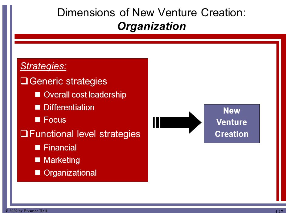 © 2002 by Prentice Hall 1-17 Dimensions of New Venture Creation: Organization Strategies:  Generic strategies Overall cost leadership Differentiation Focus  Functional level strategies Financial Marketing Organizational New Venture Creation