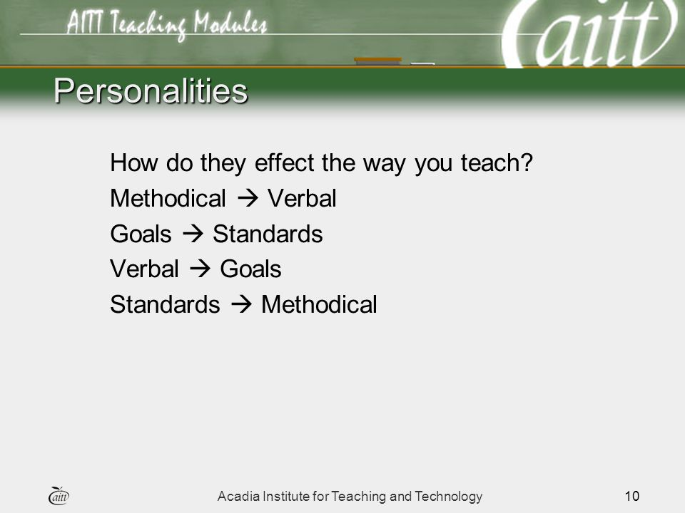Acadia Institute for Teaching and Technology10 Personalities How do they effect the way you teach.