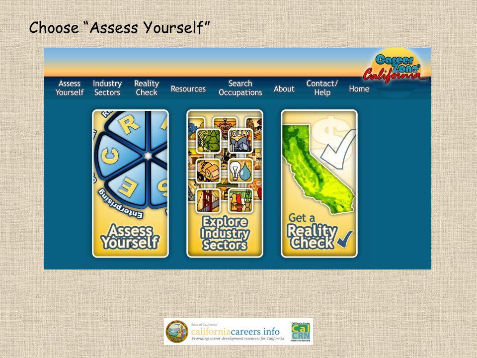 "Choose ""Assess Yourself"""