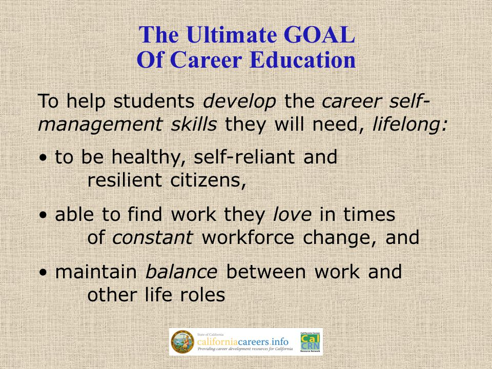 To help students develop the career self- management skills they will need, lifelong: to be healthy, self-reliant and resilient citizens, able to find work they love in times of constant workforce change, and maintain balance between work and other life roles The Ultimate GOAL Of Career Education