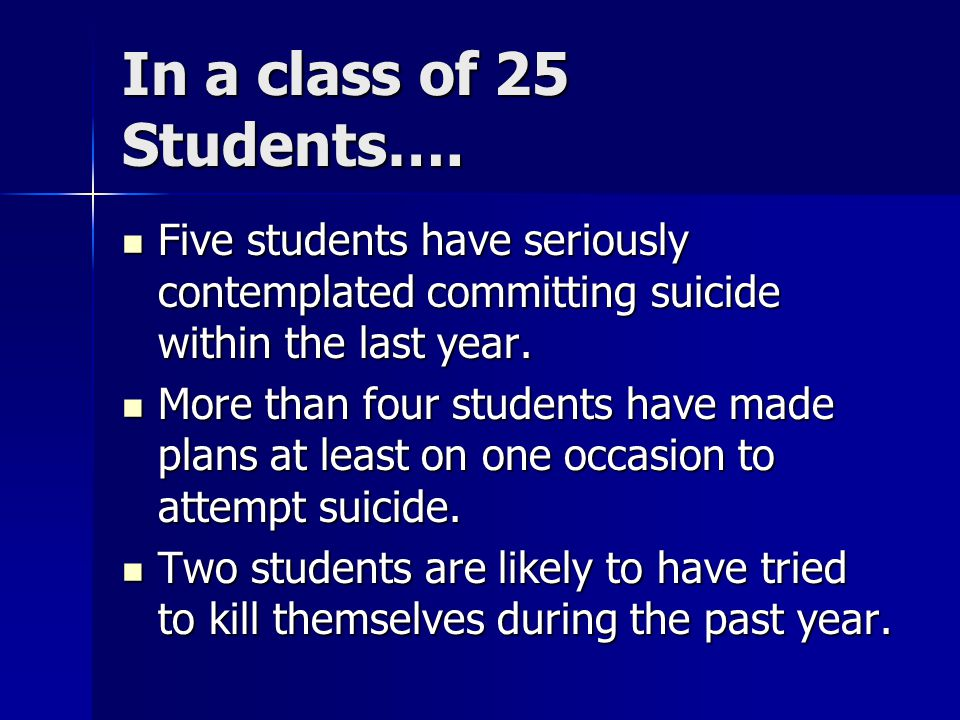 In a class of 25 Students….