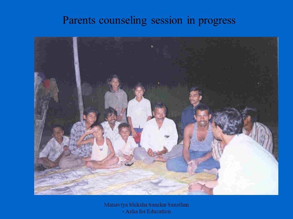 Manaviya Shiksha Sanskar Sansthan - Asha for Education Parents counseling session in progress