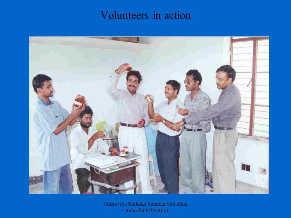 Manaviya Shiksha Sanskar Sansthan - Asha for Education Volunteers in action