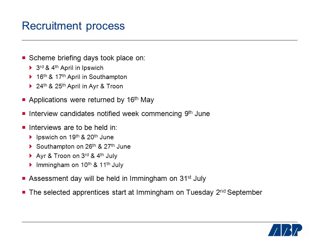 Recruitment process  Scheme briefing days took place on:  3 rd & 4 th April in Ipswich  16 th & 17 th April in Southampton  24 th & 25 th April in