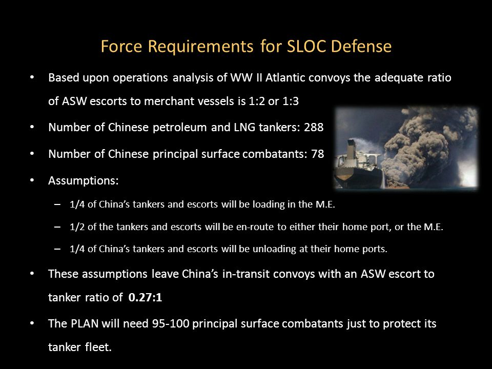 Force Requirements for SLOC Defense Based upon operations analysis of WW II Atlantic convoys the adequate ratio of ASW escorts to merchant vessels is 1:2 or 1:3 Number of Chinese petroleum and LNG tankers: 288 Number of Chinese principal surface combatants: 78 Assumptions: – 1/4 of China's tankers and escorts will be loading in the M.E.