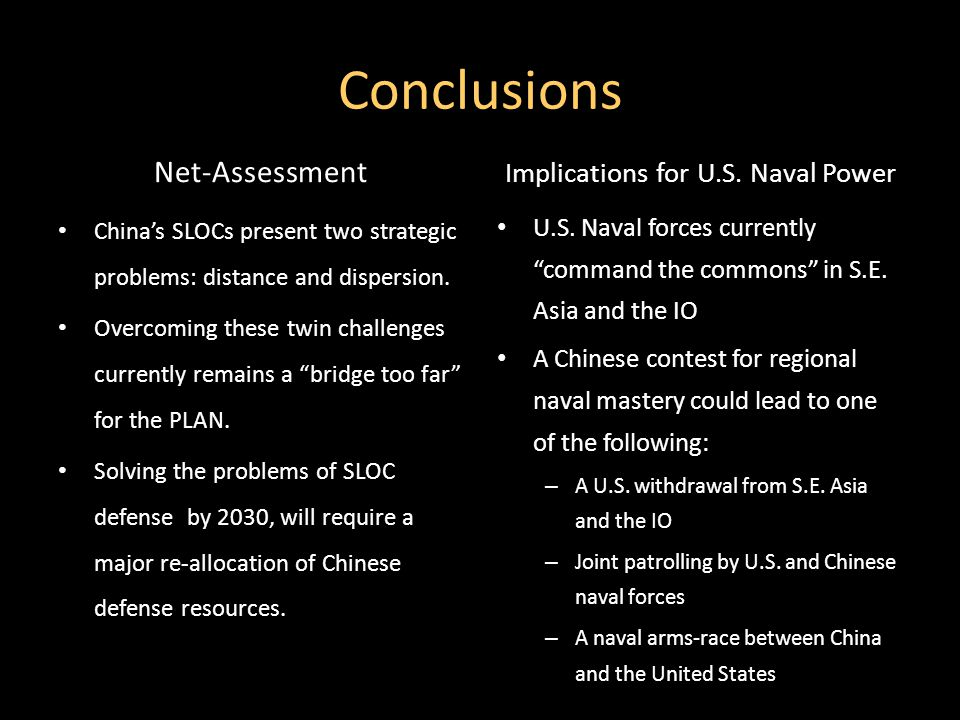 Conclusions Net-Assessment China's SLOCs present two strategic problems: distance and dispersion.