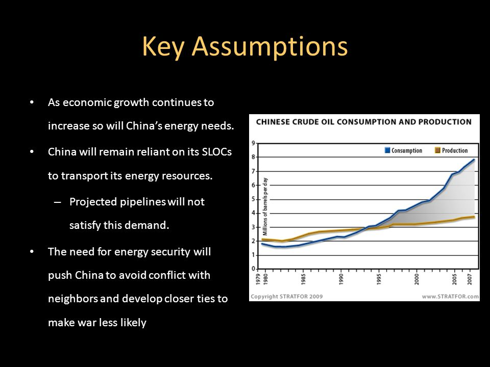 Key Assumptions As economic growth continues to increase so will China's energy needs.