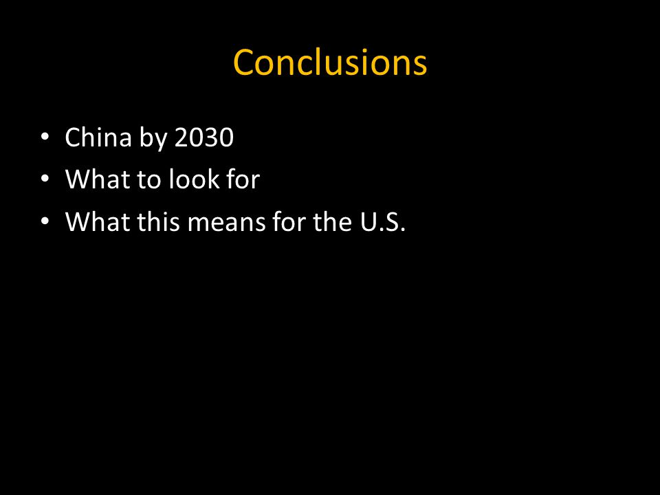 Conclusions China by 2030 What to look for What this means for the U.S.