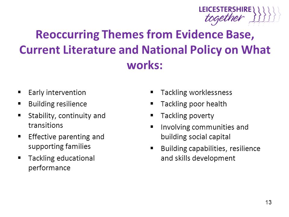 Reoccurring Themes from Evidence Base, Current Literature and National Policy on What works:  Early intervention  Building resilience  Stability, c