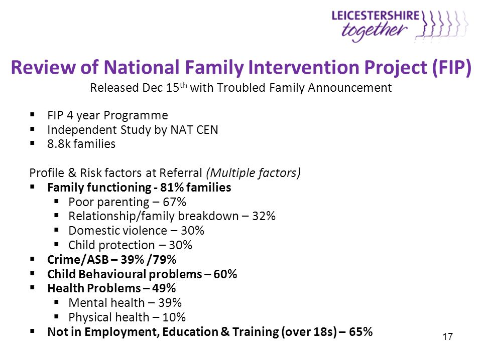 Review of National Family Intervention Project (FIP) Released Dec 15 th with Troubled Family Announcement  FIP 4 year Programme  Independent Study b