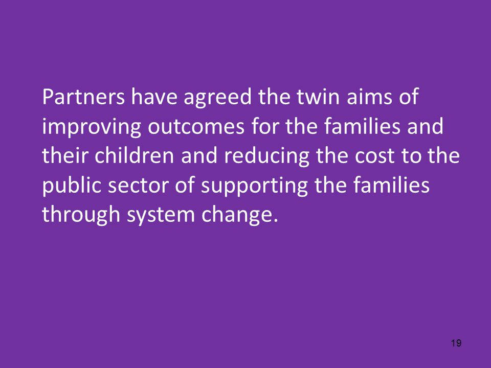 © 2011 Deloitte MCS Limited. Private and confidential. 19 Partners have agreed the twin aims of improving outcomes for the families and their children