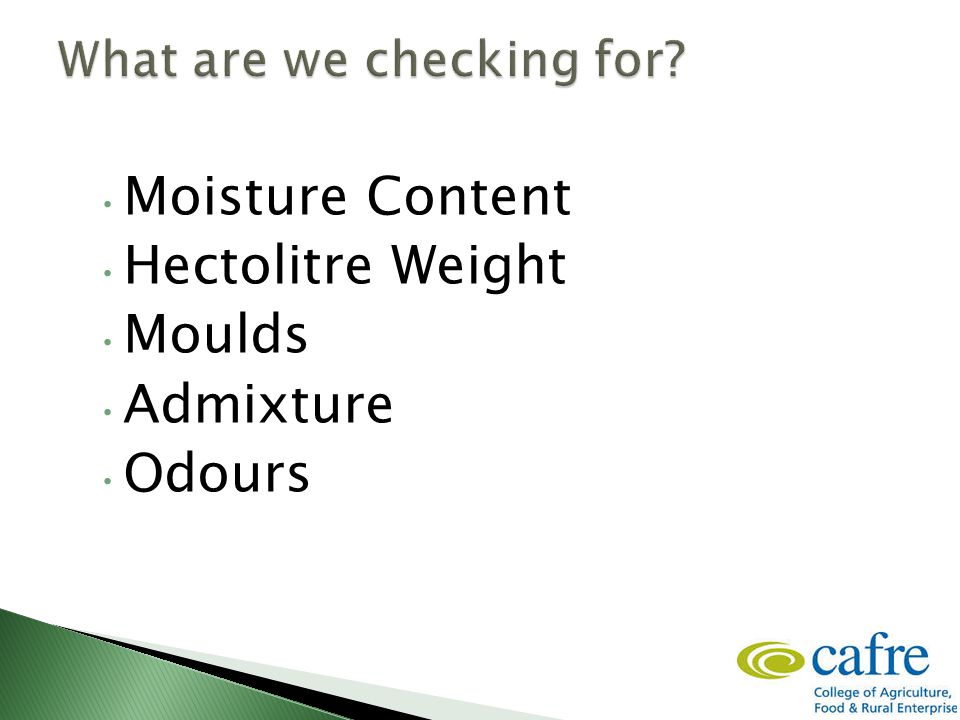 Moisture Content Hectolitre Weight Moulds Admixture Odours