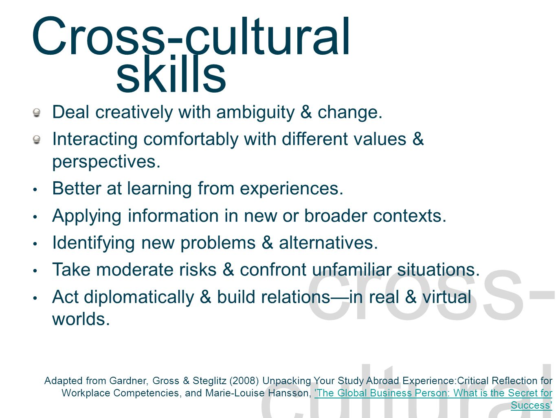 Cross-cultural skills descriptors cross- cultural Deal creatively with ambiguity & change.