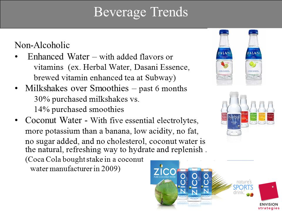 Beverage Trends Non-Alcoholic Enhanced Water – with added flavors or vitamins (ex.
