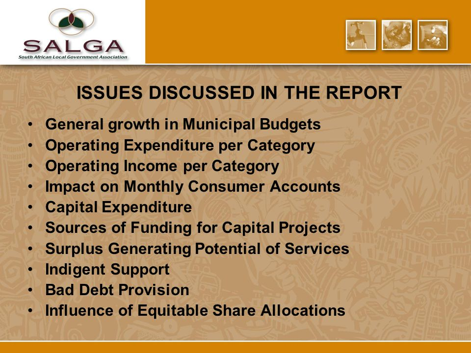 ISSUES DISCUSSED IN THE REPORT General growth in Municipal Budgets Operating Expenditure per Category Operating Income per Category Impact on Monthly Consumer Accounts Capital Expenditure Sources of Funding for Capital Projects Surplus Generating Potential of Services Indigent Support Bad Debt Provision Influence of Equitable Share Allocations