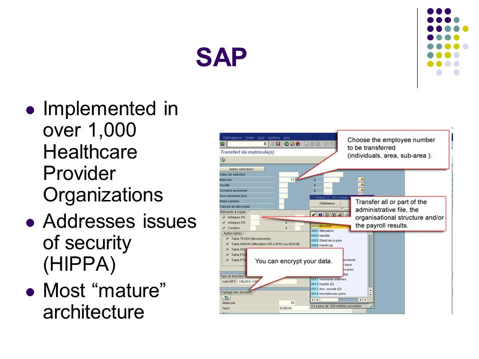SAP Implemented in over 1,000 Healthcare Provider Organizations Addresses issues of security (HIPPA) Most mature architecture