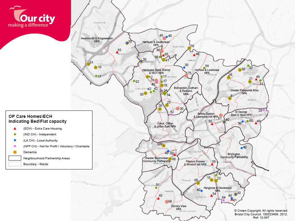 Service Specification 2012 DRIVERS FOR CHANGE National Legislation Demographic change in Bristol Changing Care environment (Higher dependency levels in Care Homes) JOINT specification between Bristol City Council and Bristol Clinical Commissioning Group Aligned to CQC Regulations where possible Applicable to all care home settings and all service user groups Core Aims –High quality care provision –Improved accessibility –Offering choice and control –Delivering care with dignity –Person Centred Care –Promoting Quality of Life for all