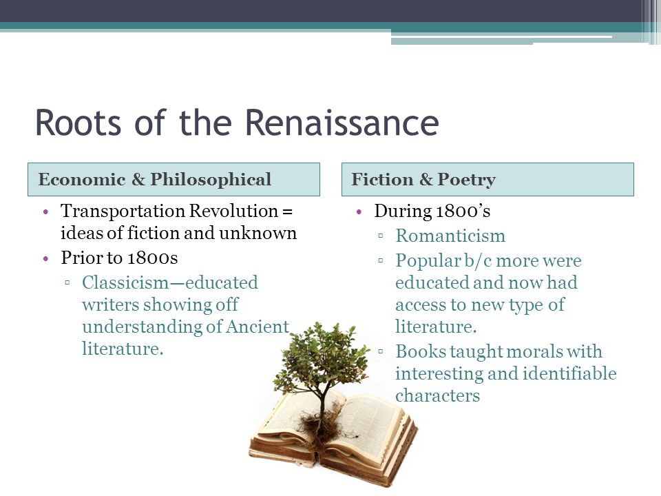 Roots of the Renaissance Economic & PhilosophicalFiction & Poetry Transportation Revolution = ideas of fiction and unknown Prior to 1800s ▫Classicism—educated writers showing off understanding of Ancient literature.