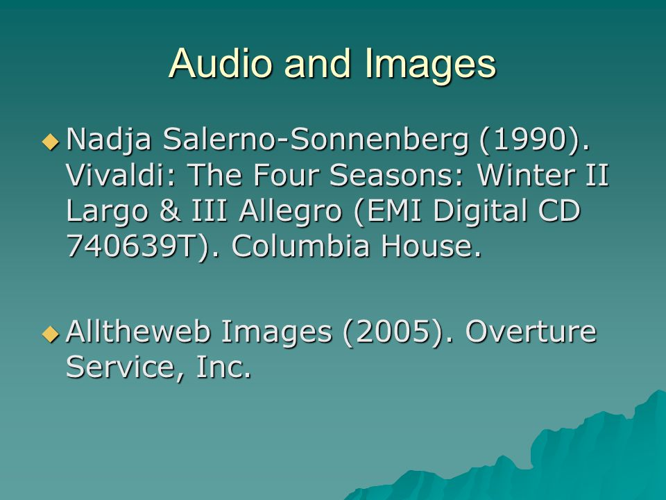 Audio and Images  Nadja Salerno-Sonnenberg (1990).
