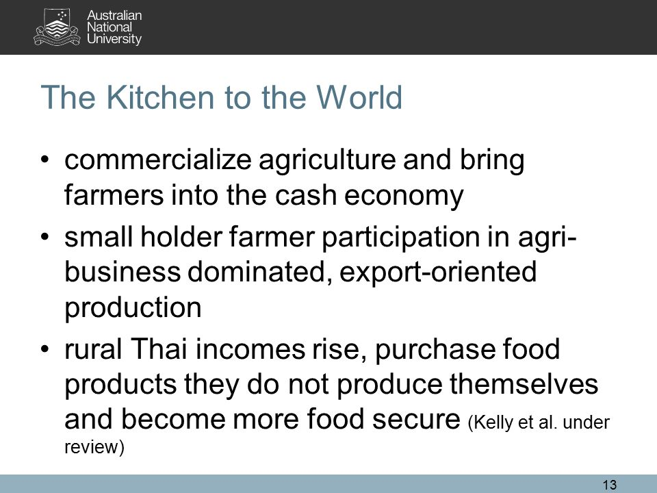 The Kitchen to the World commercialize agriculture and bring farmers into the cash economy small holder farmer participation in agri- business dominat