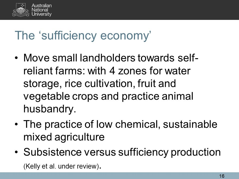 The 'sufficiency economy' Move small landholders towards self- reliant farms: with 4 zones for water storage, rice cultivation, fruit and vegetable cr